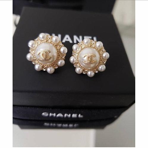CC Chanel inspired stud earring pearl earrings