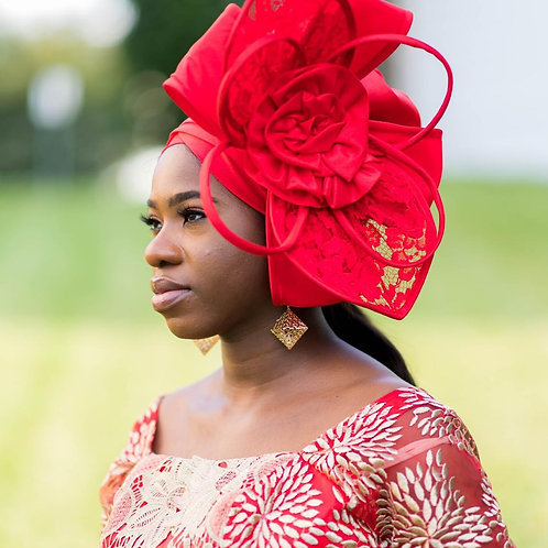 Beautiful Red Fascinator Turban