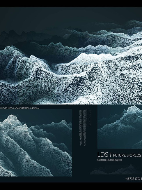 LDS / FUTURE WORLDS Composite  Landscape Data Sculpture  Future environments built upon small packets of data; forming vectors of integrity inside 3D space