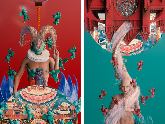 Inside the futuristic alternate realms of Curry Tian, Mariko Mori, and Lu Yang