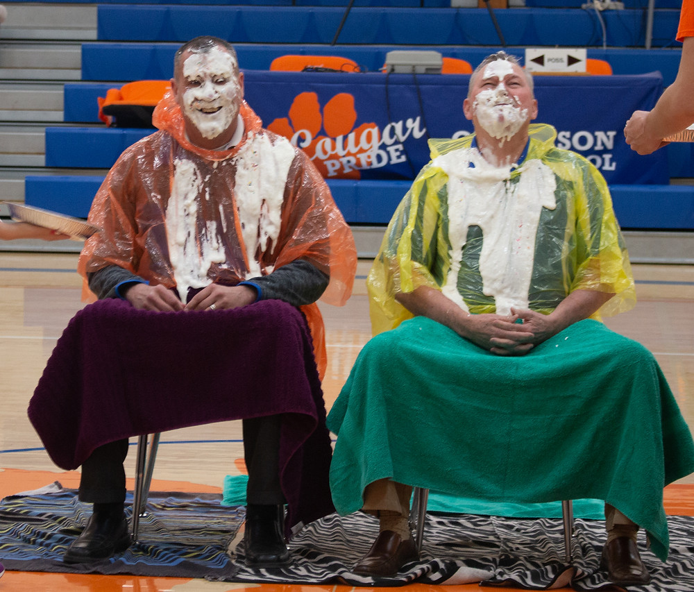 Mr. Rice and Mr. Lowry took cream pies to the face for the pep rally