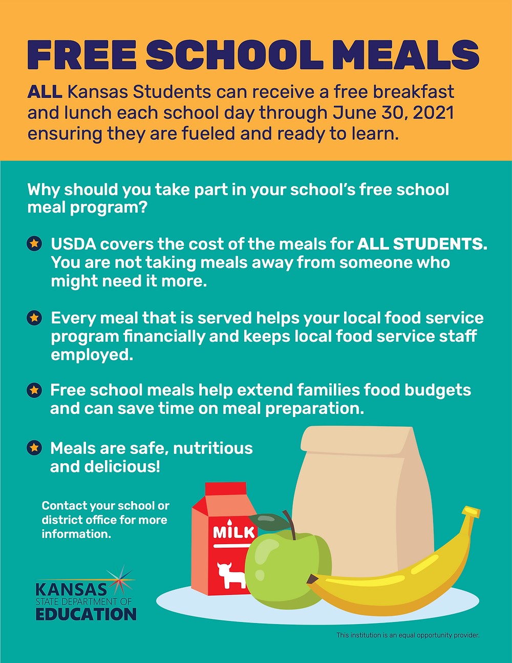 Otis-Bison students receive free breakfast and lunch every school day for the 20-21 school year.