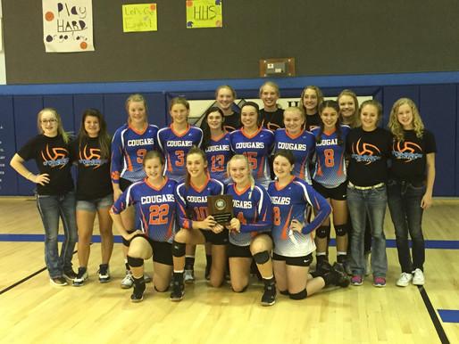 Lady Cougars Varsity Volleyball wins championship at Healy invitational!