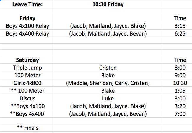 State Track Schedule