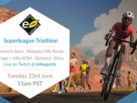 Watch the Women's Superleague Triathlon ZWIFT round 2 race live today on Twitch at 11:00am PST.