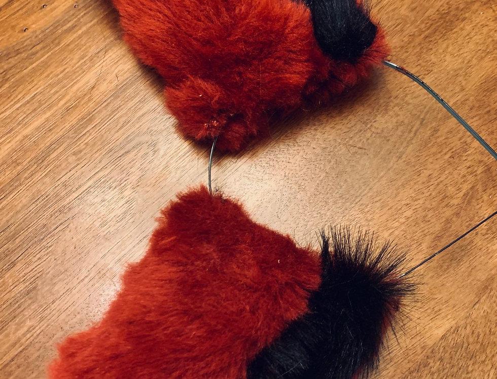 Deep Red and Black Fox Ears