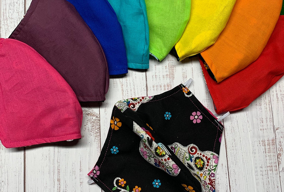 Rainbow Sugar Skull Face Mask with Filter Pocket and Nose Wire
