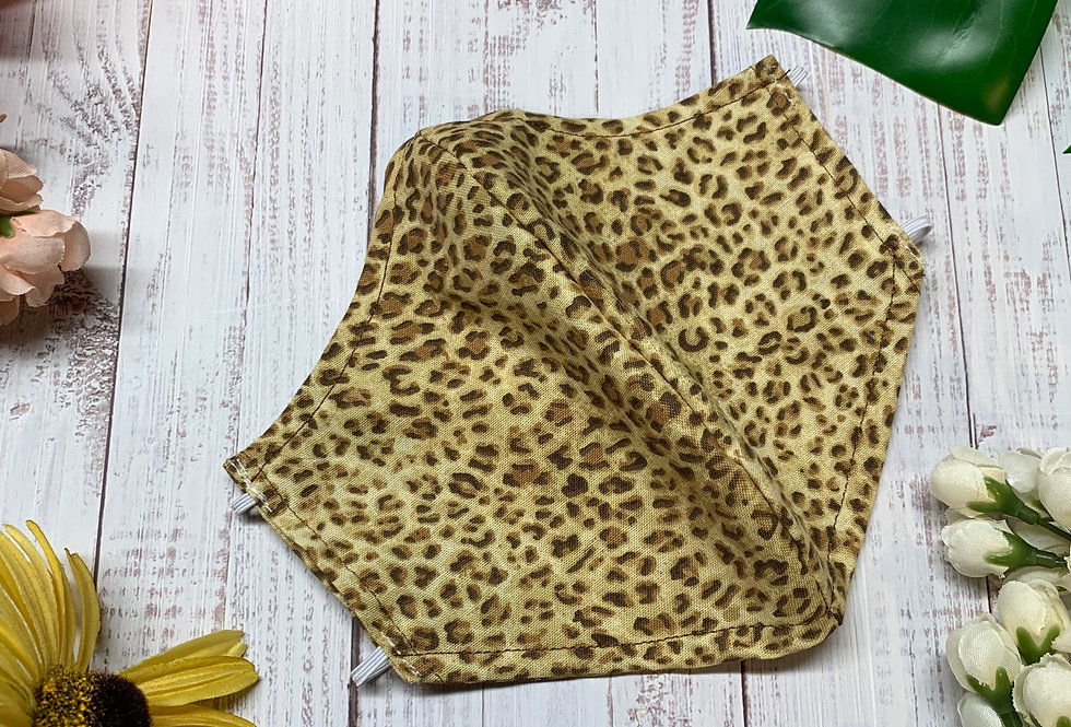 Cheetah Animal Print Face Mask With Filter Pocket and Nose Wire, Reusable Cotton