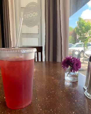 Enjoying a delicious lemonade in Ballson Spa's Ironroost. This is one of my favorite restraunts after a day of fullfillig orders for the shop.