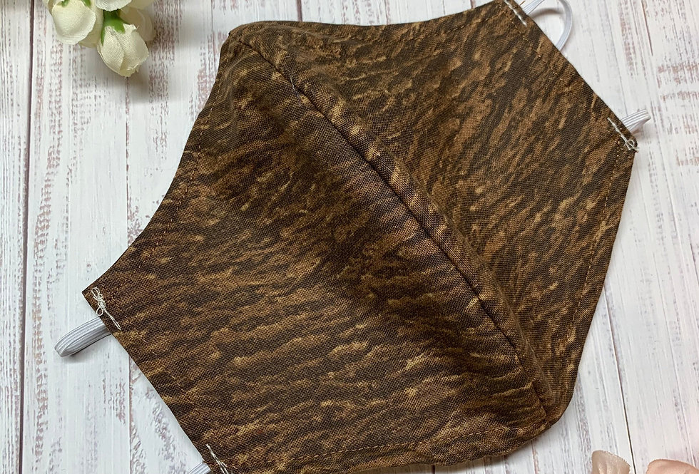 Dark Wood Grain Face Mask With Filter Pocket and Nose Wire, Reusable Washable Co