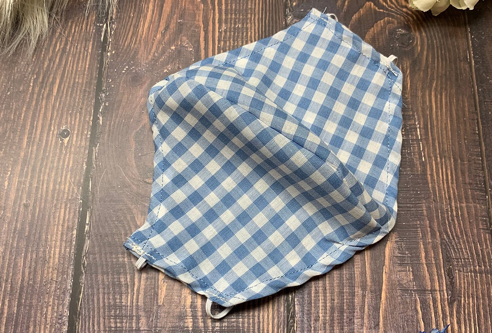 Light Blue and White Gingham Plaid Face Mask With Filter Pocket and Nose Wire, W