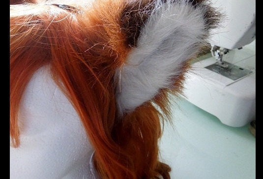 Natural Burnt Orange Red Fox Tail and Ear Set