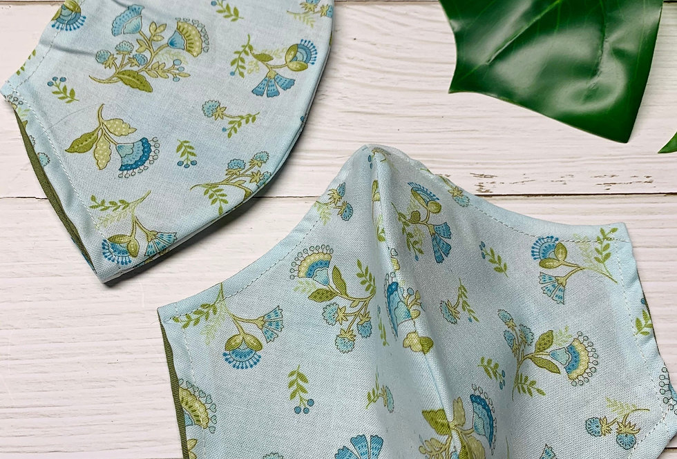 Blue and Green Floral Face Mask With Filter Pocket and Nose Wire, Green & Blue M