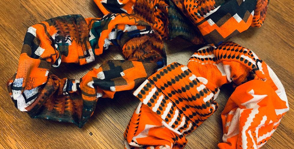 Orange African Wax Scrunchies,
