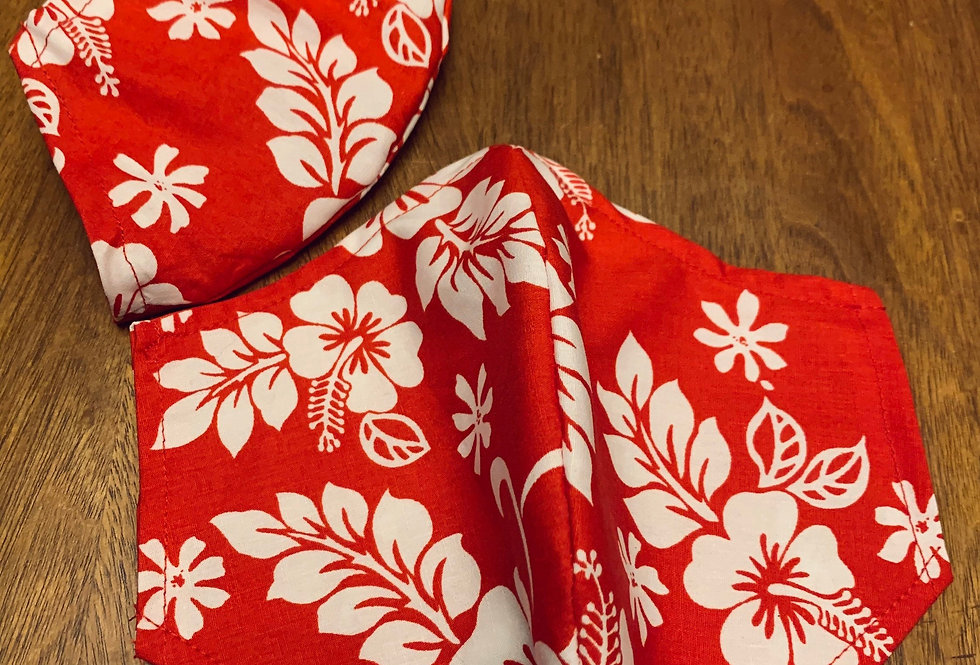 Red Hawaiian Print Cotton Adult Face Mask with Filter Pocket and Nose Wire, Reus