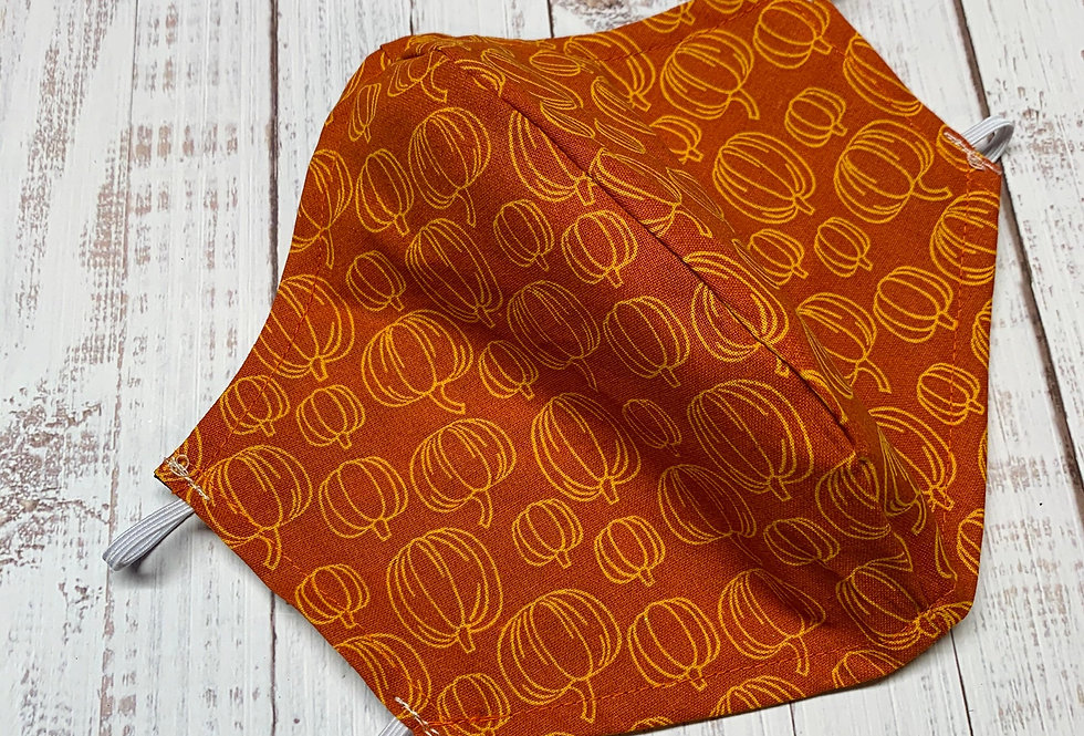 Harvest Pumpkin Face Mask With Filter Pocket and Nose Wire, Reusable Cotton Face