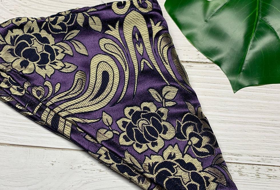 Large Purple Brocade Bandana with Coin Fringe