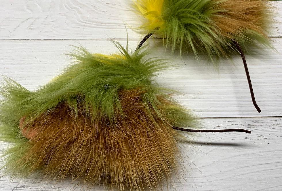 Green & Beige Dragon Ears