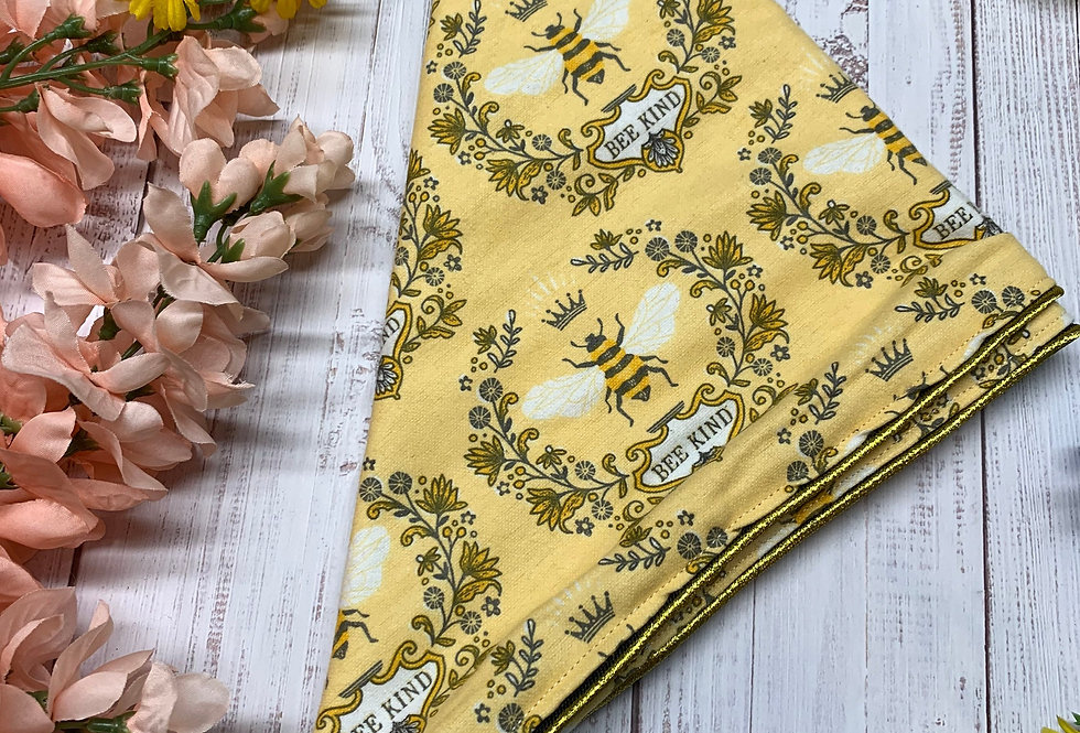 Royalty Bee Kind Fursuit Bandana with Gold Piping