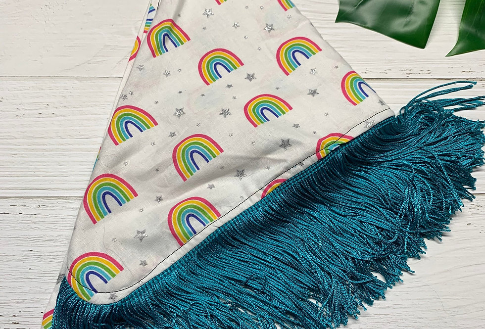 Rainbow Glitter Fursuit Bandana with Fringe