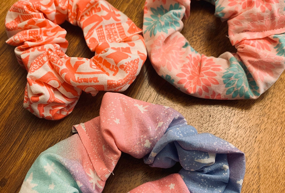 Cute Pink Handmade Scrunchies