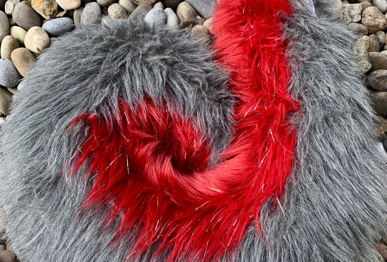 Ruby Red and Gray Curly Husky Tail