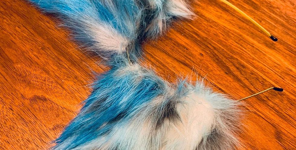 Realistic Light Blue Kitten Ears