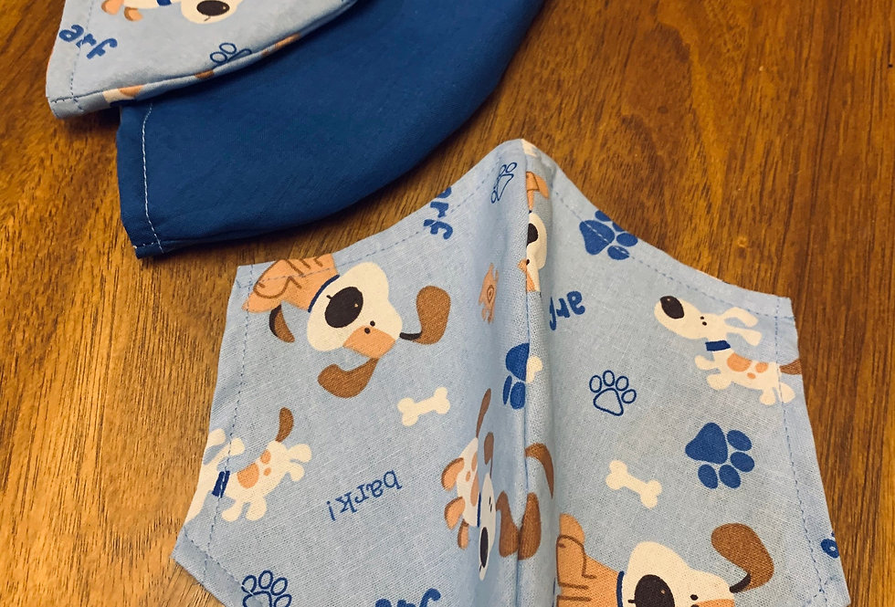 Blue Puppy Face Mask with Filter Pocket and Nose Wire, Washable Cotton Face Mask