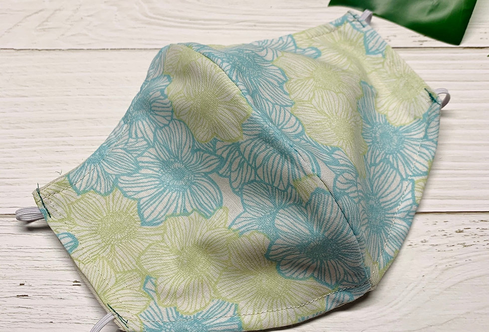 Blue Floral Face Mask With Filter Pocket and Nose Wire, Cotton Reusable Face Mas