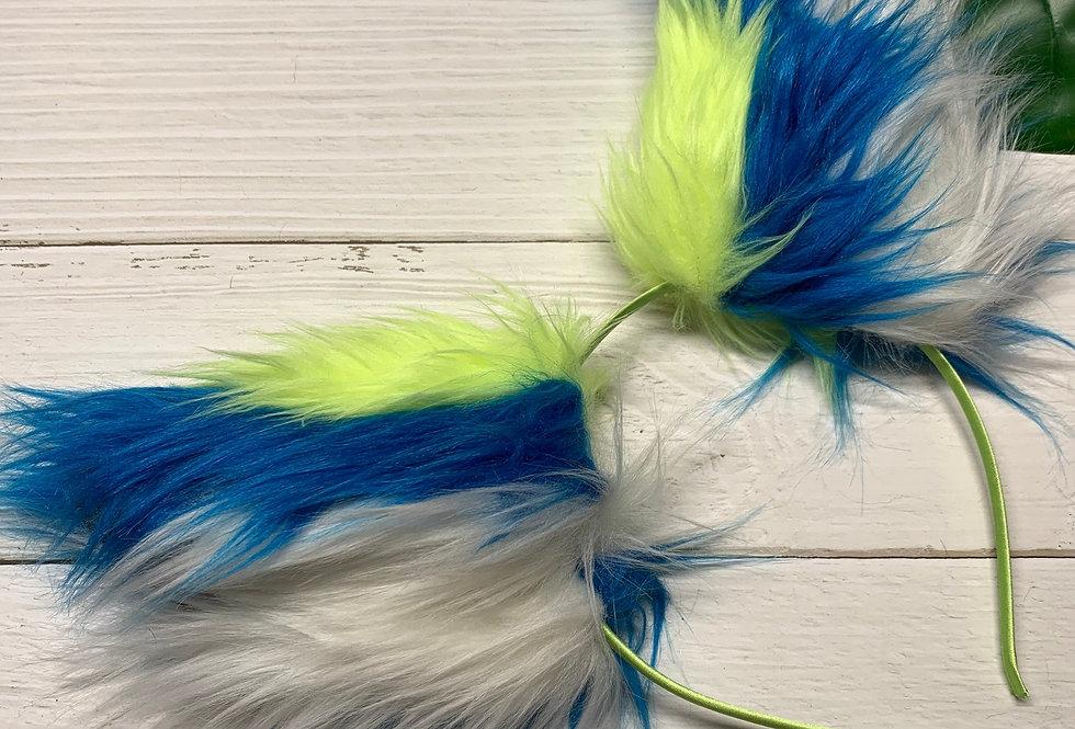 UV Yellow and Cobalt Blue Fox Ears