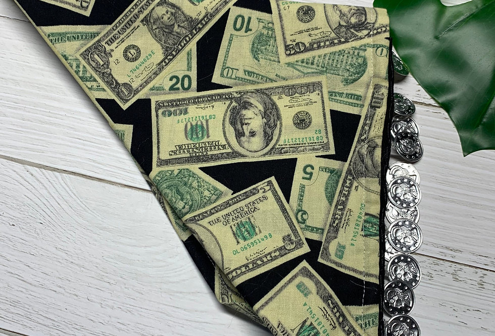 Cash Money Fursuit Bandana with coin fringe