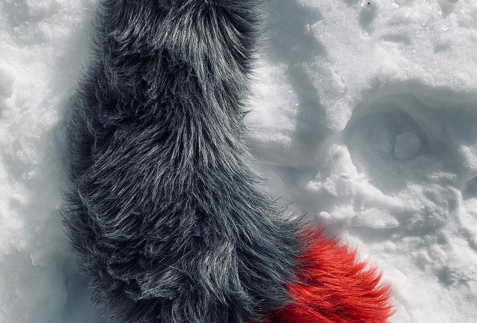 Gray and Red Fox Tail: Ready to Ship