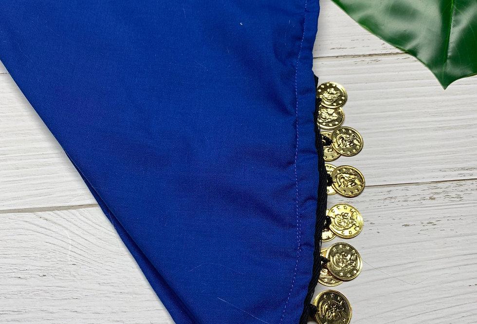 Royal Blue Fursuit Bandana with gold coin fringe