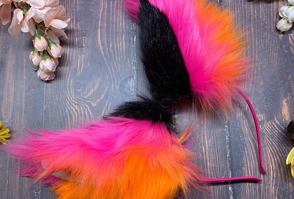 Vaporwave Sunset Pink and Orange Fox Ears