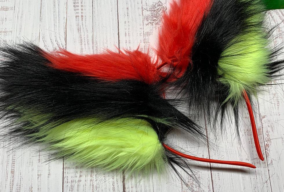 Cyberpunk UV Yellow, Black, and Red Fox Ears