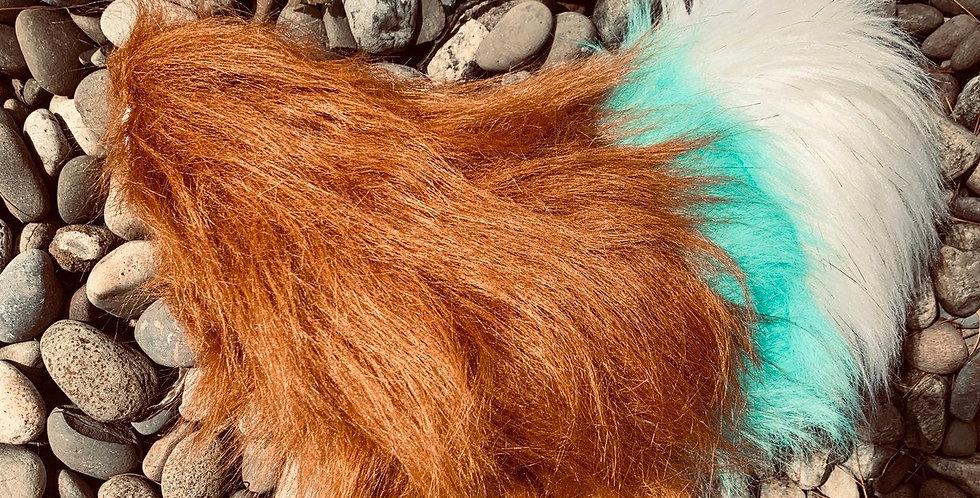 Custom Rust Red, Aqua, and white tip mini Fursuit Tail
