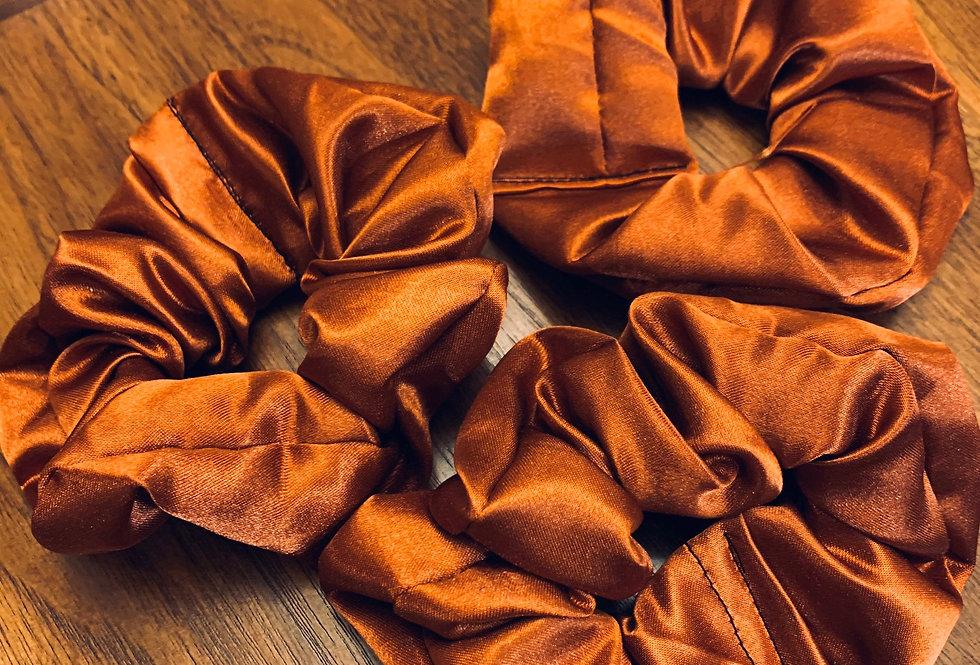 Silk Satin Burnt Orange Scrunchie