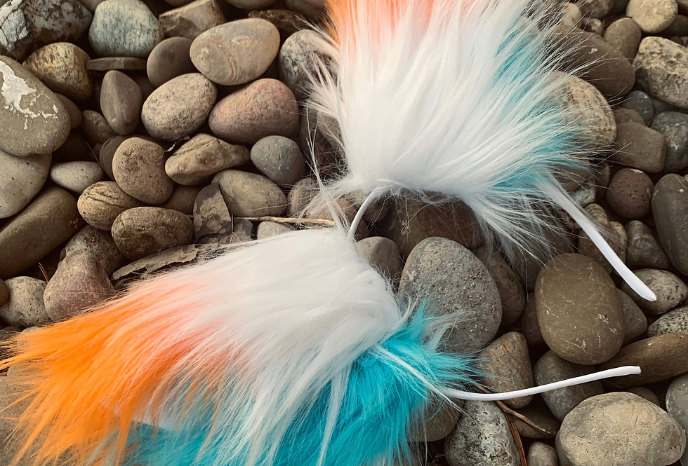 White, Aqua, and Orange Fox Furry Ears