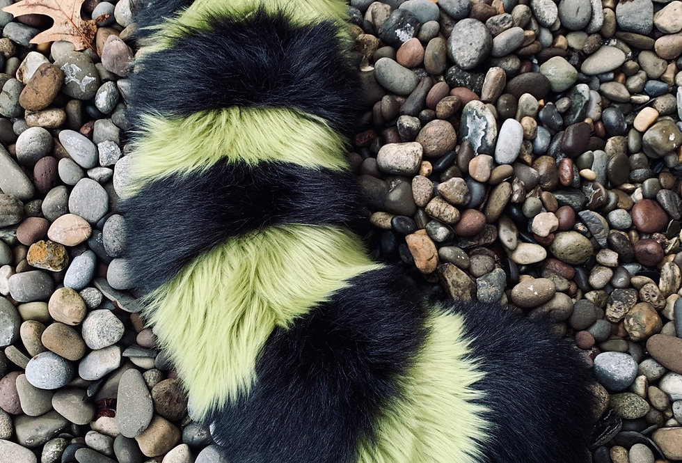 Green and Black Curvy Red Panda Fursuit Tail