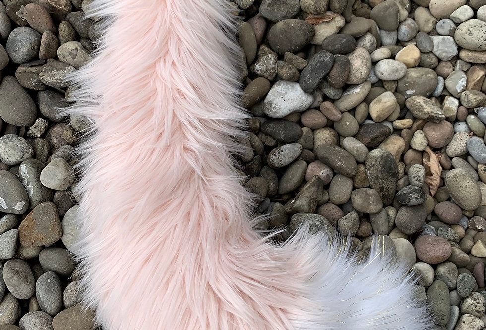 Medium Baby Pink Fox Tail with Glowing Tip: Ready to Ship