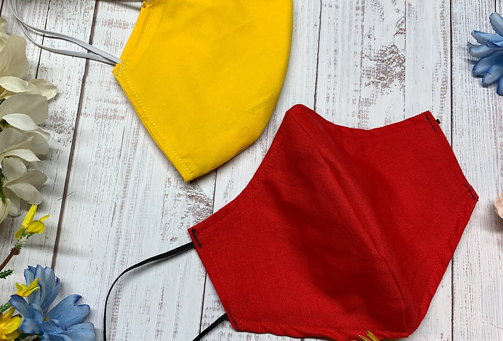 Solid Yellow and Red Face Mask With Filter Pocket and Nose Wire, Plus size and A