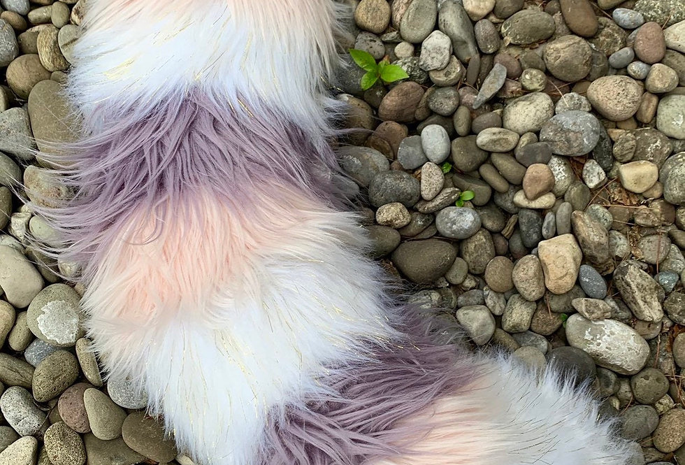 Glowing Cutesy Pink and Lavender Purple Red Panda Fursuit Tail