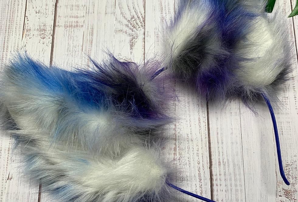 Realistic Light Blue and Purple Kitten Ears
