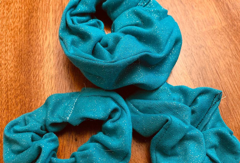 Sparkle Teal Hair Scrunchies