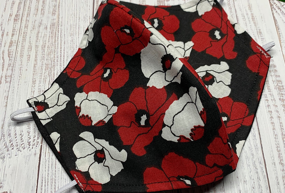 Red Flower Face Mask With Filter Pocket and Nose Wire, Cotton Washable Face Mask