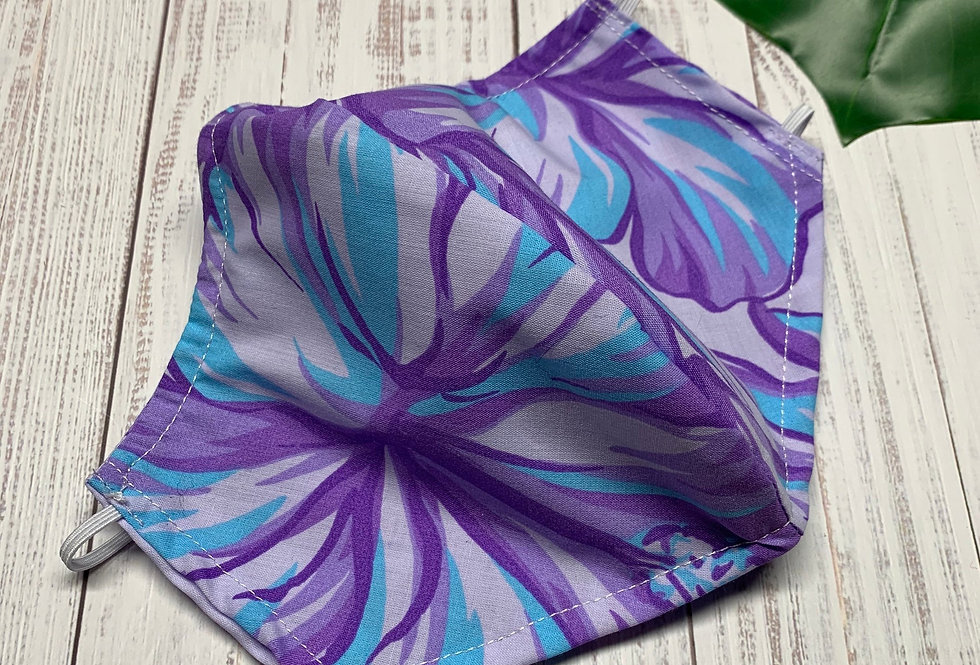 Blue and Purple Hawaiian Floral Face Mask with Filter Pocket and Nose Wire, Trop