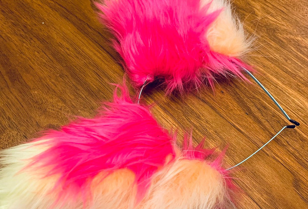 Orange and Hot Pink Fox Ears