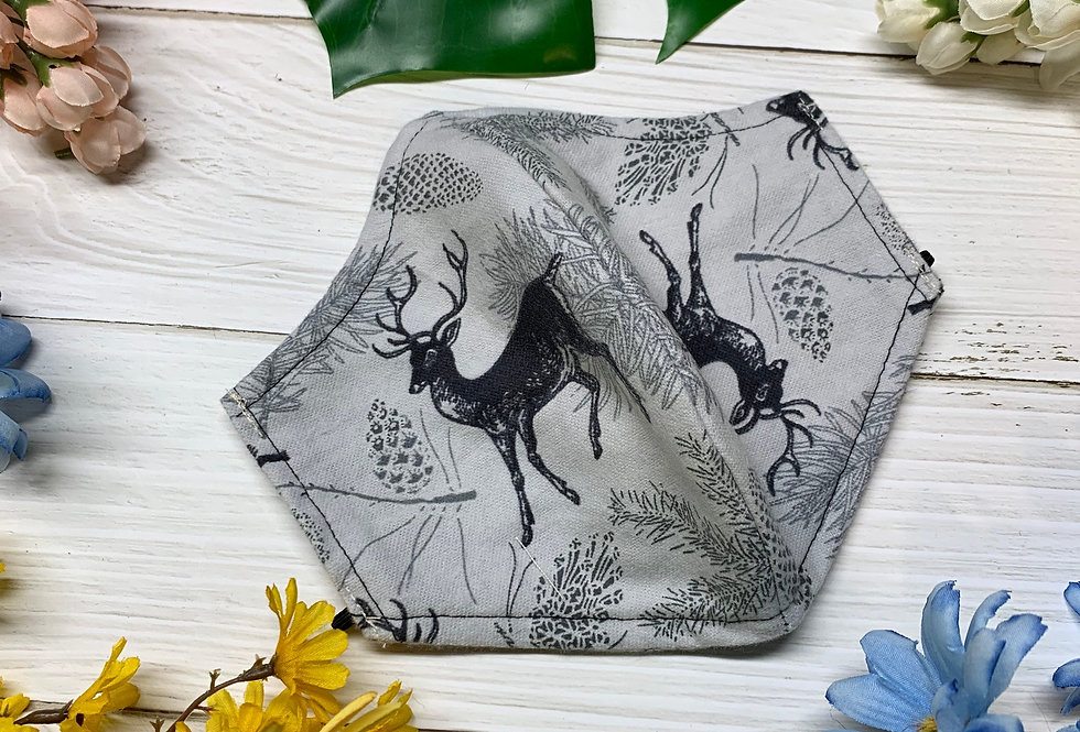Deer Face Mask With Filter Pocket and Nose Wire, Reusable Washable Face Mask, Ad
