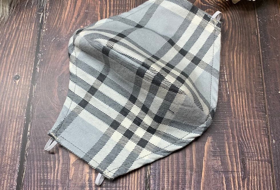 White and Gray Gingham Plaid Flannel Face Mask With Filter Pocket and Nose Wire,
