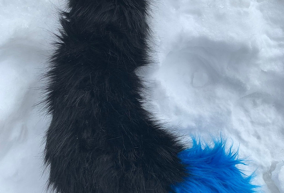 Black and Cobalt Blue Kitten Tail: Ready to Ship